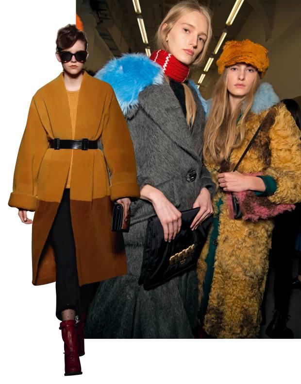 From left: Bottega Veneta shearling coat, £5,675. Prada alpaca and faux-fur jacket, £1,675, and shearling and leather coat, £4,990