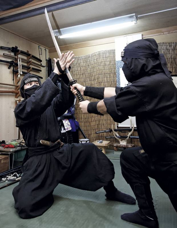 A demonstration with ninja hand spikes.