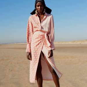 Mother of Pearl x BBC Earth faux-pearl-embellished, organic-silk Miles shirt, £570, and organic-silk Annabelle wrap skirt, £595