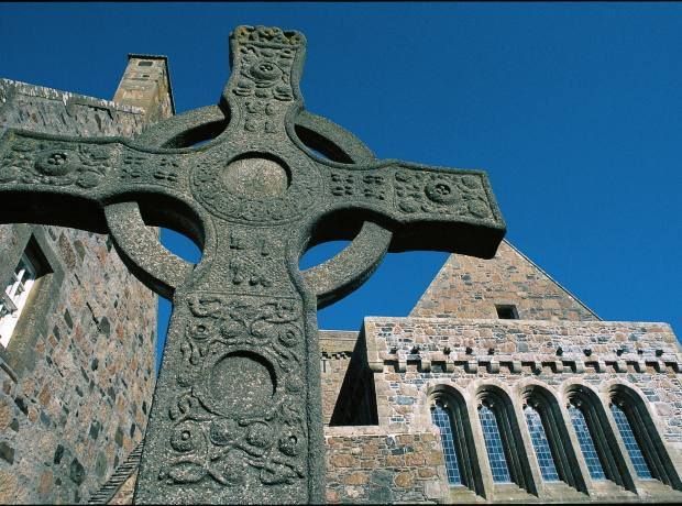 Iona Abbey, founded by St Columba in the 6th century.