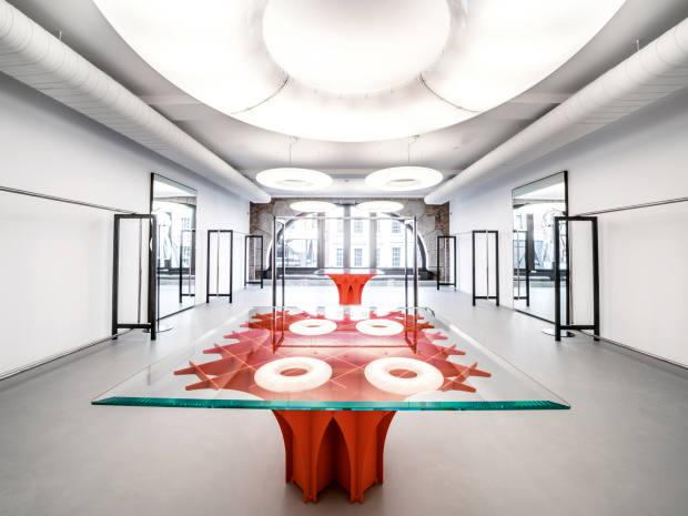 A double Cathédrale table, $102,960, adds a pop of colour to Alaïa's London shop