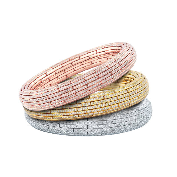 Nirav Modi rose, yellow and white gold and diamond Grand Embrace bangles, from £43,700
