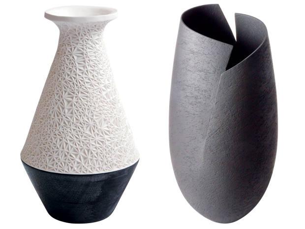 From left: Ashraf Hanna ceramic Black Cut vessel, £2,200. Leah Jensen porcelain and scorched oak The Magdalen Reading vessel, £3,000