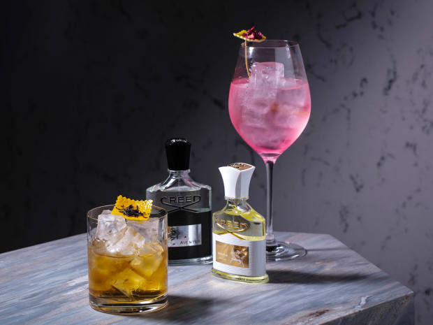 Mixologist Giorgio Tosato helped create the special cocktails designed around the notes of four Creed fragrances