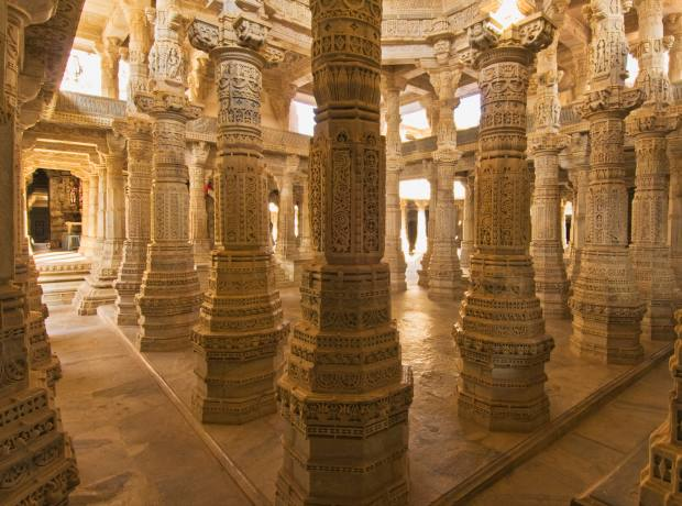 The carved marble interior of Adinath Temple in Udaipur.