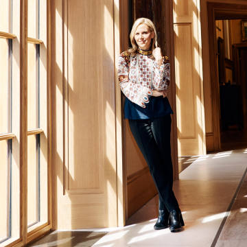 Tory Burch in the Barnes Foundation's art gallery in Philadelphia