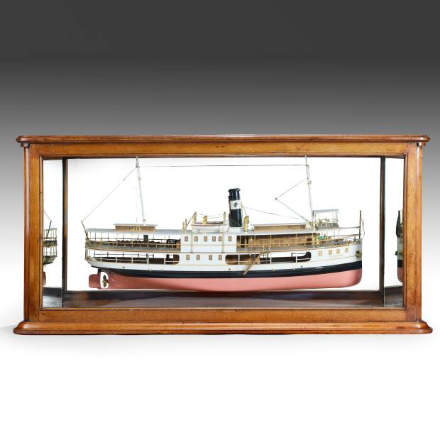 Finely detailed shipbuilder mirror back model of Brazilian steam river ferry, c.1911, United Kingdom, £8,800 from LAPADA accredited dealer Anderson Wallrock Nautical Antiques