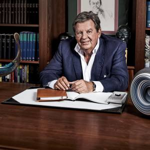 Johann Rupert, controlling shareholder of Richemont and the force behind the Michelangelo Foundation, at his Mayfair office with (on left) Ran by Backhaus-Brown and Egeværk and (on right) Spiral by Matthew Chambers