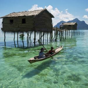 Traditional Bornean houses on stilts
