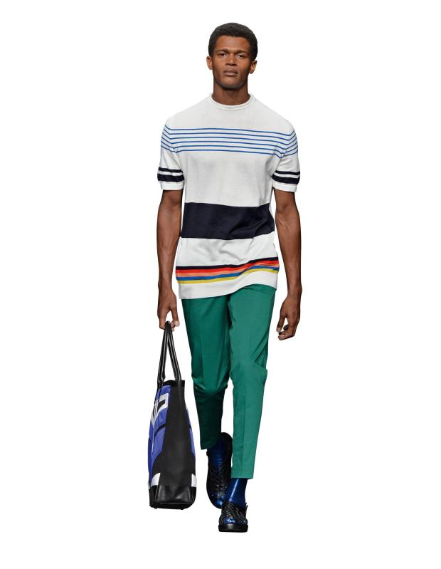 Knitted cotton Norman T-shirt, £195, cotton-mix New Huston trousers, £265, and nylon, polyester and leather Beaumont tote, £235