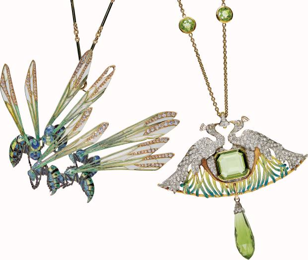 From left: RenéLalique pendant-brooch of five enamel and diamond wasps, $60,000-$80,000, and pendant depicting a pair of enamel and diamond peacockspunctuated with green peridot, $35,000-$55,000