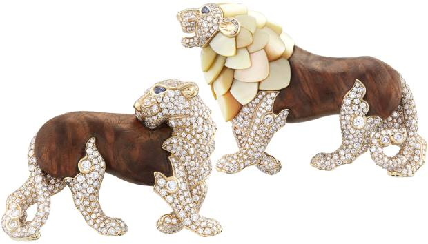 Van Cleef & Arpels gold, diamond, sapphire, golden mother-of-pearl and wood Lion et Lionne clips, price on request