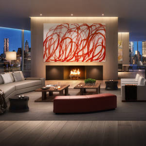 The living room of the penthouse at 160 Leroy in Manhattan's West Village, $80m