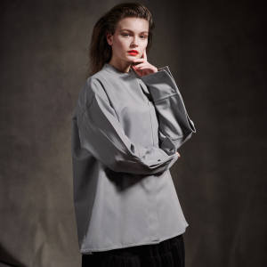 Jil Sander cotton shirt, £720, and polyester skirt, £950