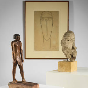 c1911-1912 pencil-on-paper Tete by Amedeo Modigliani and an 11th or 12th Dynasty wooden statuette of an Egyptian dignitary (€50,000-€60,000)