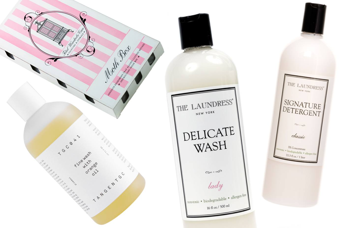 Clockwise from far right: The Laundress Signature Detergent, £15.50. The Laundress Delicate Wash, £14.50. Tangent Garment Care orange oil-infused fine wash for delicates, €13. Total Wardrobe Care Moth Box, £7.90