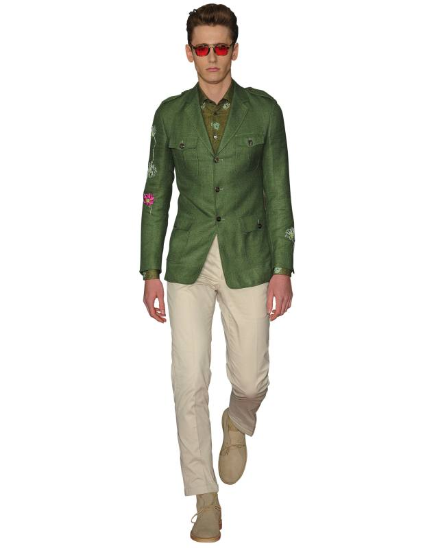 Richard James hopsack jacket, £695, and cotton shirt, £255