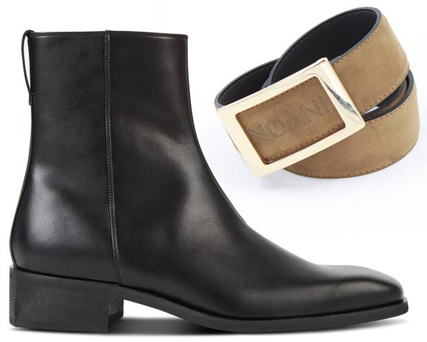 "Stella McCartney ""alter-nappa""/recycled polyester Chelsea boots, £540. Noani eucalyptus fibre/recycled polyester Bigbuc belt, €69.95"
