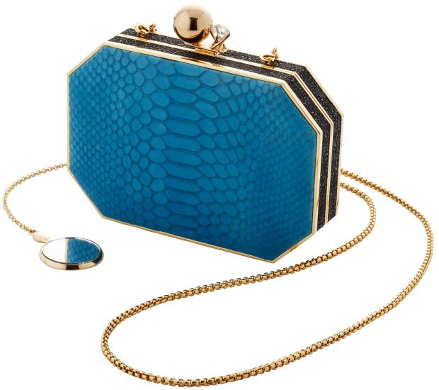 Amanda Pearl leather clutch bag with attached mirror, $800