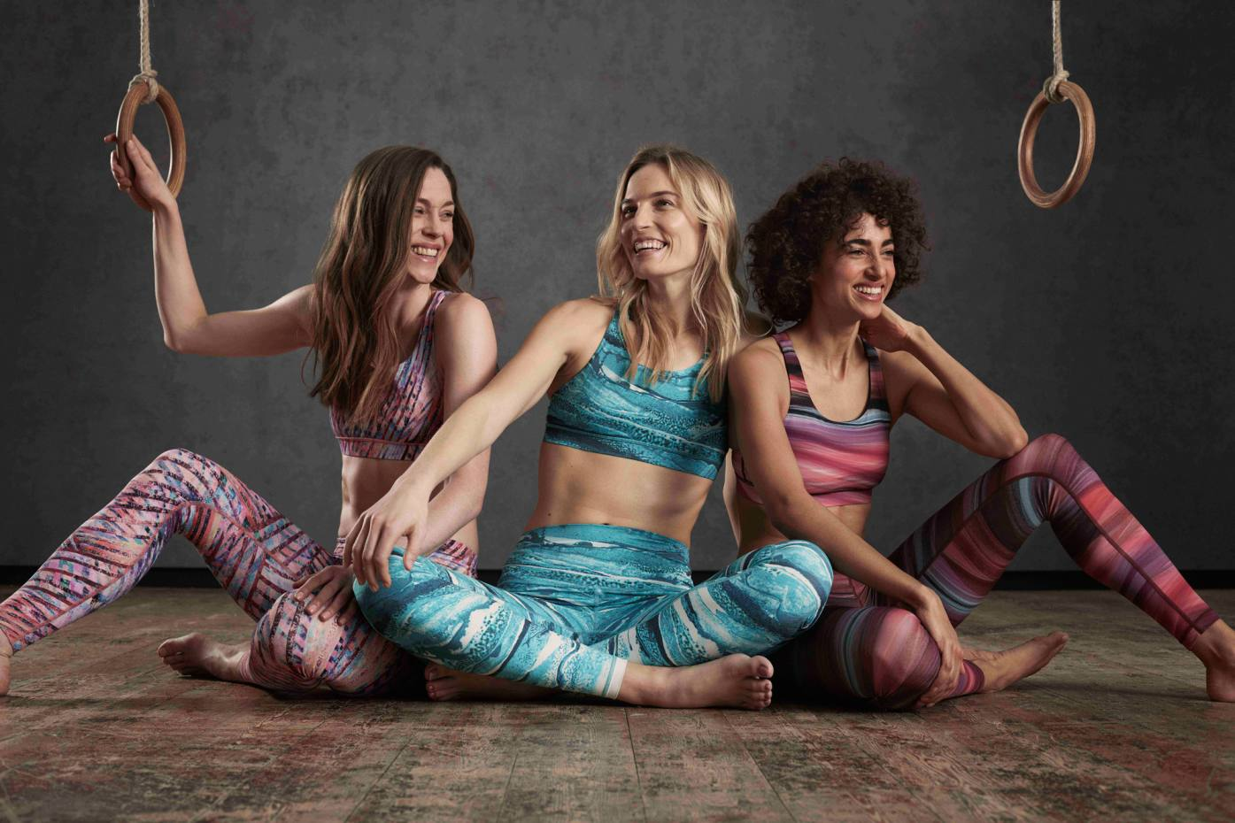 """Three designs from the Lululemon x CSM """"Art of Motion"""" collection: (from left) Kascade, Quartzite and Tulle"""
