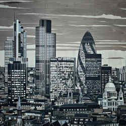 Linley wood marquetry London Skyline Panel, similar panels from £90,000