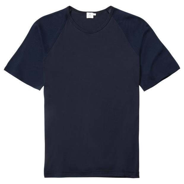 Sunspel cotton tee with cellular-knit sleeves, £80