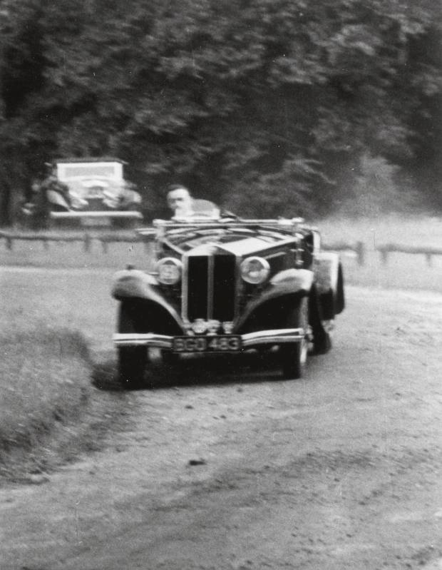 The 9th Duke of Richmond at the Festival of Speed, on the original hillclimb, in the 1930s