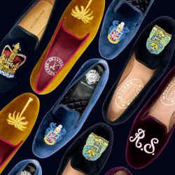 Model wears Arthur Sleep velvet Glowing Gods slippers, from £650