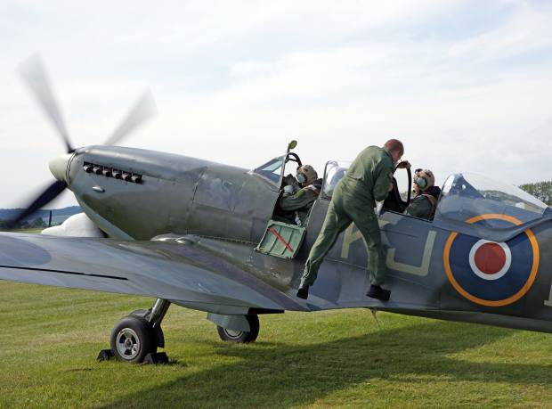 The Boultbee Spitfire prepares for takeoff