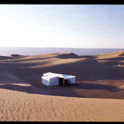 Dar Ahlam Nomade tented camp in the dunes of the Sahara, Morocco.