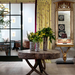 The drawing room of New York's The Whitby Hotel showcases Kemp's signature style