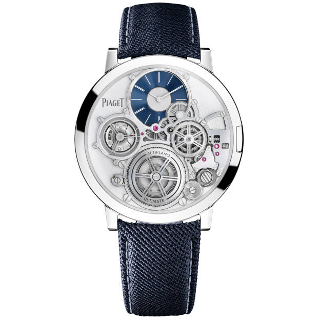 The watch can be customised with colour options for the bridge, dial, hands and mainplate and straps