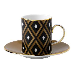 Wedgwood Arris cup and saucer in fine bone china, £90. Also in white and gold colourway