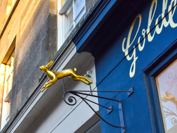 The founder's daughter Agnes, an artist-blacksmith, created the gilded hare mascot for the shop