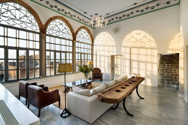Two adjoining Ottoman palaces  were transformed into the light-soaked Efendi Hotel that overlooks the Crusader port of Acre