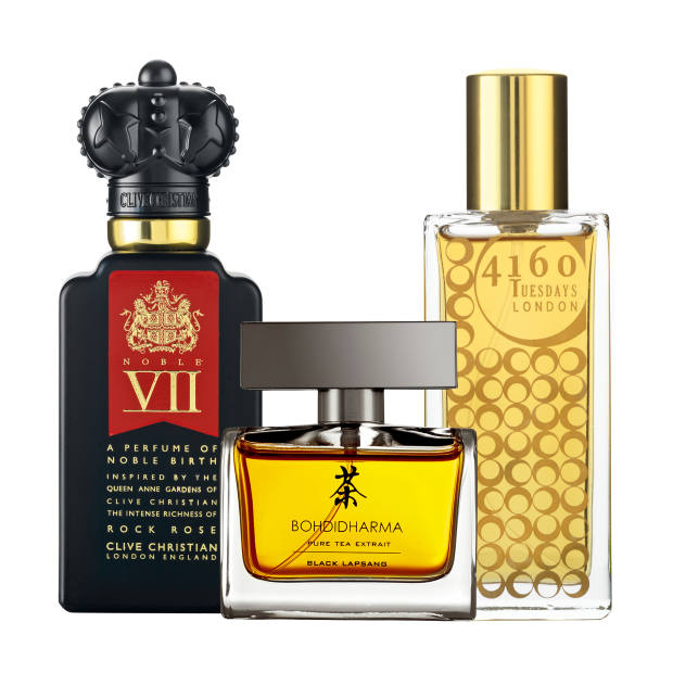 From left: Clive Christian Noble VII Rock Rose, £350 for 50ml parfum. Bohdidharma Black Lapsang, £165 for 50ml EDE. 4160 Tuesdays Inevitable Crimes of Passion, £95 for 30ml EDE