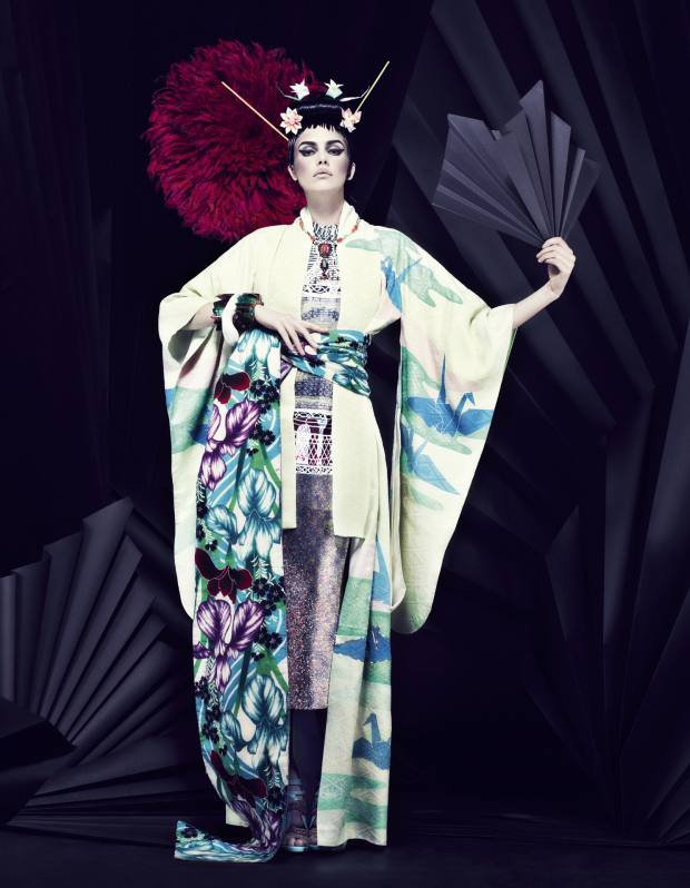 Vintage circa 1960s silk kimono, £380, and vintage wool obi, £250, both by Yasuko Kido. Silk-mix dress, £18,360, by Mary Katrantzou. Metallic leather shoes, £1,270, by Tabitha Simmons. Vintage Erickson Beamon necklace in enamel, pearl and gilt, £447, from Soboye. Feather headdress, £550, elasticated resin bracelets, £90 each, and clamshell bangle, £155, all by Pebble London. Origami paper flowers, price on request, by Sesames