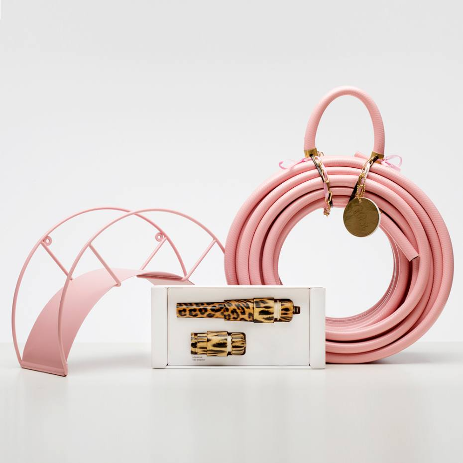 Garden Glory pink hose, €110, with leopard-print nozzle, €65