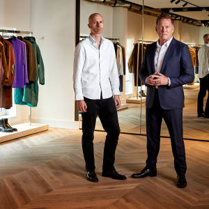Dunhill creative director Mark Weston (far left) with CEO Andrew Maag in the company's new Mayfair headquarters