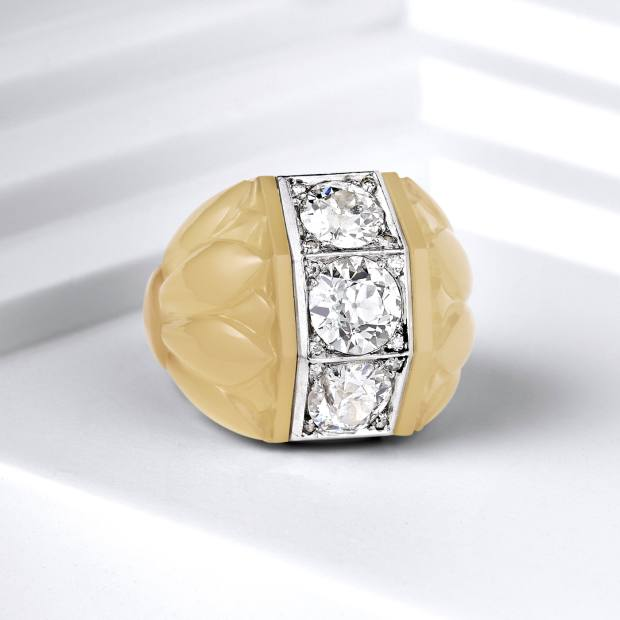 Belperron chalcedony three diamond ring, estimated $10,000-$15,000