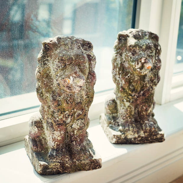 The lion sculptures Olivia Chantecaille brought home from her honeymoon in South Africa