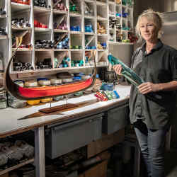 Backhaus-Brown co-founder Nanna Backhaus-Brown in the harbour workshop