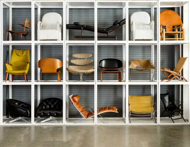 """An array of design classics will go under the hammer, from this Charles & Ray Eames lounger ($3,000-$5,000, pictured top row centre) to the Saarinen Grasshoppe"""" chaise longue ($6,000-$8,000, pictured bottom row centre) and Hans Olsen's Bikini lounge chair ($4,000-$6,000, pictured middle row third from right)"""