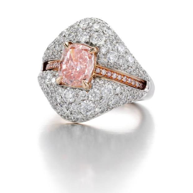 Pink Diamond Ring with White Diamond Party Jacket