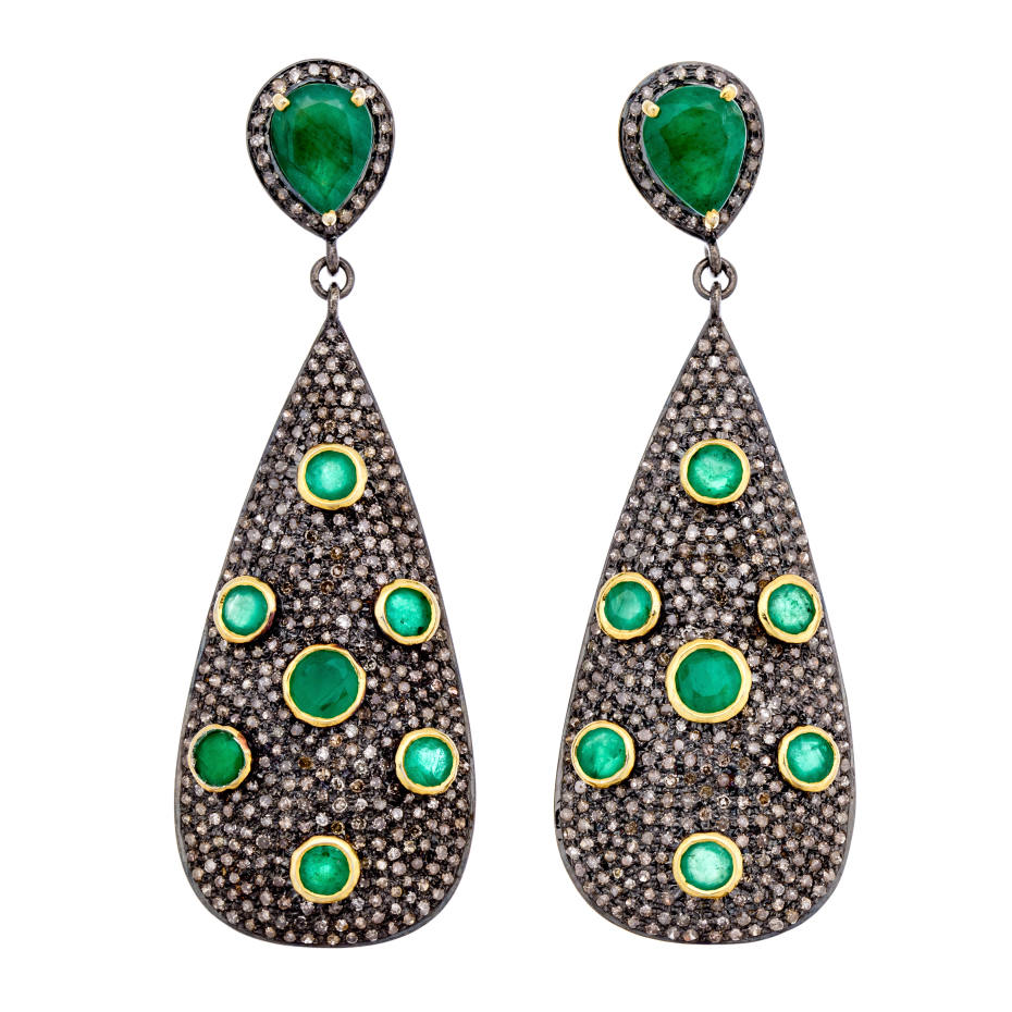 Modern Moghul pavé diamond and faceted emerald Paksa earrings, $3,800