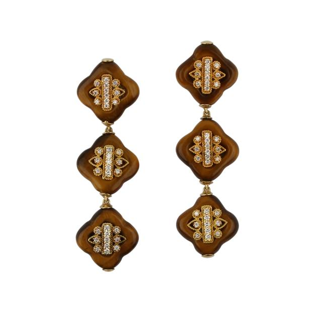 Gold, diamond and tiger's-eye earrings
