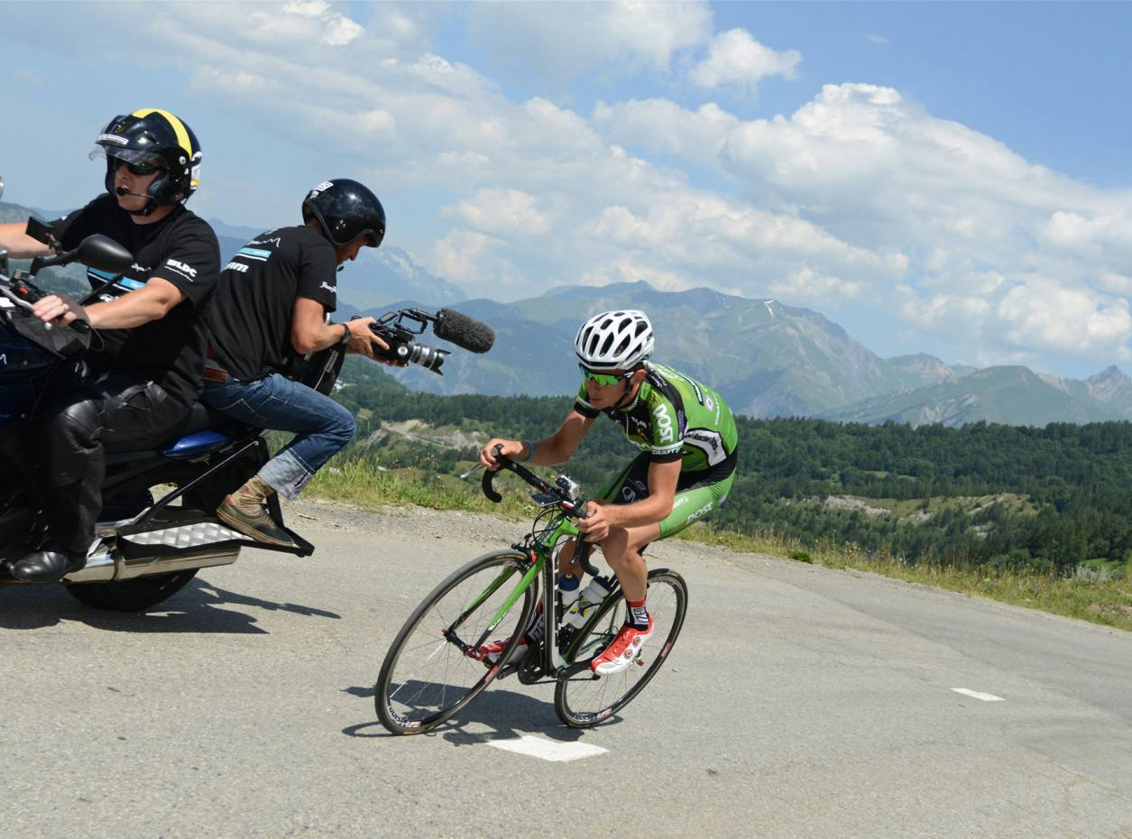 Pro rider Kieran Frend heads uphill during the prologue stage of the Trois Etapes 2013