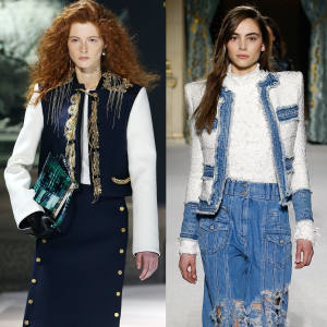 From left: Louis Vuitton embroidered wool crepe jacket, £8,400. Dior wool jacket, £2,900. Balmain denim and tweed jacket, €6,990