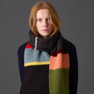 Supersized scarf by knitwear designer Jo Gordon, who is introducing a core collection that will be available all year round