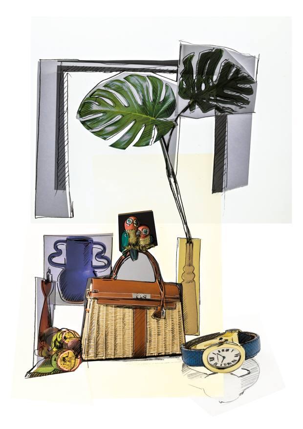 Pierre Hardy's sketch of an Hermès Kelly Picnic bag, €10,000-€15,000